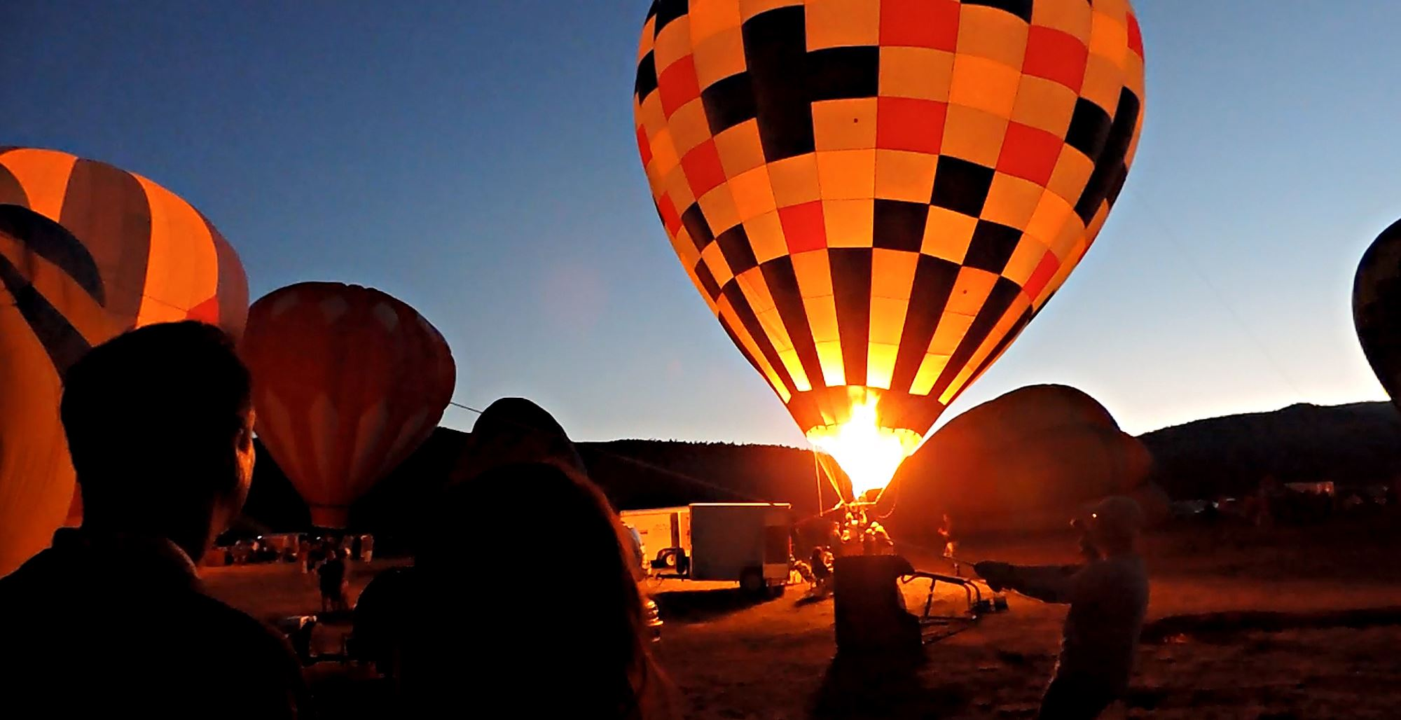 Hot Air Balloon Landing at Night