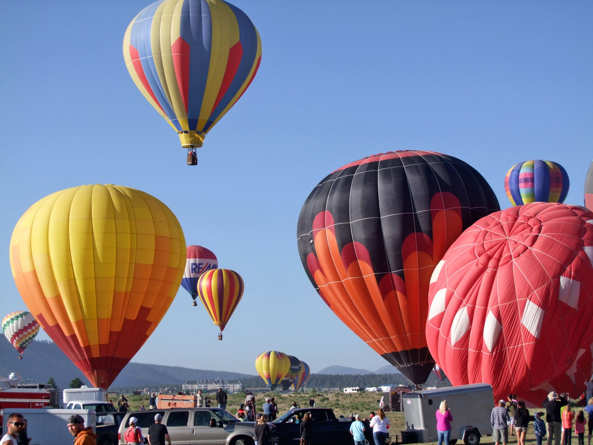 Hot Air Balloons Starting to Fly