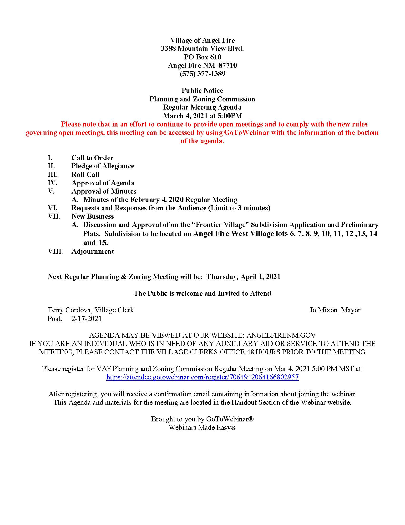 Planning and Zoning Commission Meeting Agenda 3-4-2021